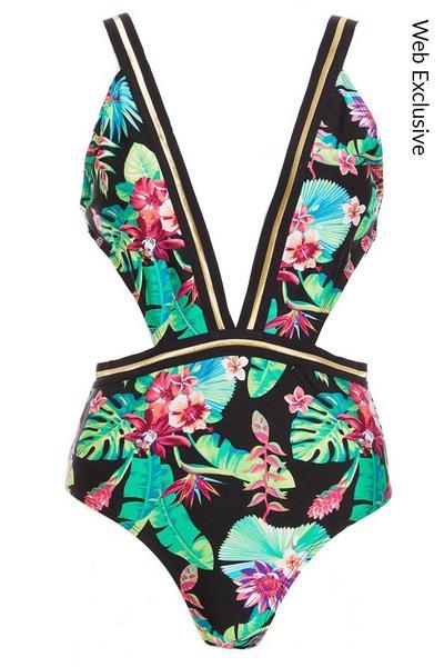 Multicoloured Tropical Swimsuit